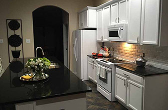 Absolute Black Granite - Back Splash: Bright and Matte Beveled 3x6 White Tile - Location: Denton, Texas 76210