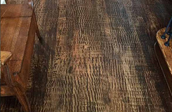 Solid Red Oak #1 Common – Scraped across the grain - Antique Brown - Semi-Gloss