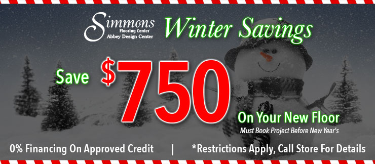 Simmons Winter Savings, Save $750 On Your New Floor, 0% Financing On Approved Credit